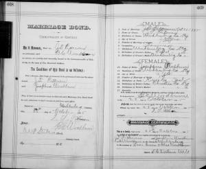 Marriage Bond for John T Pittman and Josephine Woodburn