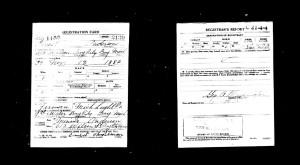 Ernest Anderson World War One Military Registration Card