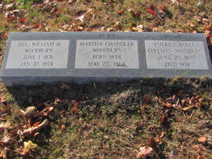 William Woodburn and his two wives are listed on one headstone.