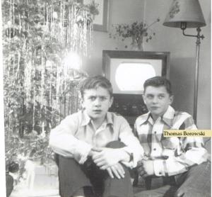 Tom Borowski and Ken Budny Christmas circa 1950