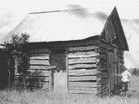 Early settler cabin in McKinney, TX in the 1840s.