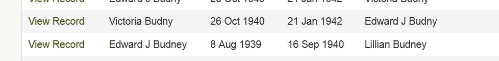 Ancestry.com screenshot of Edward Budny's divorces listings