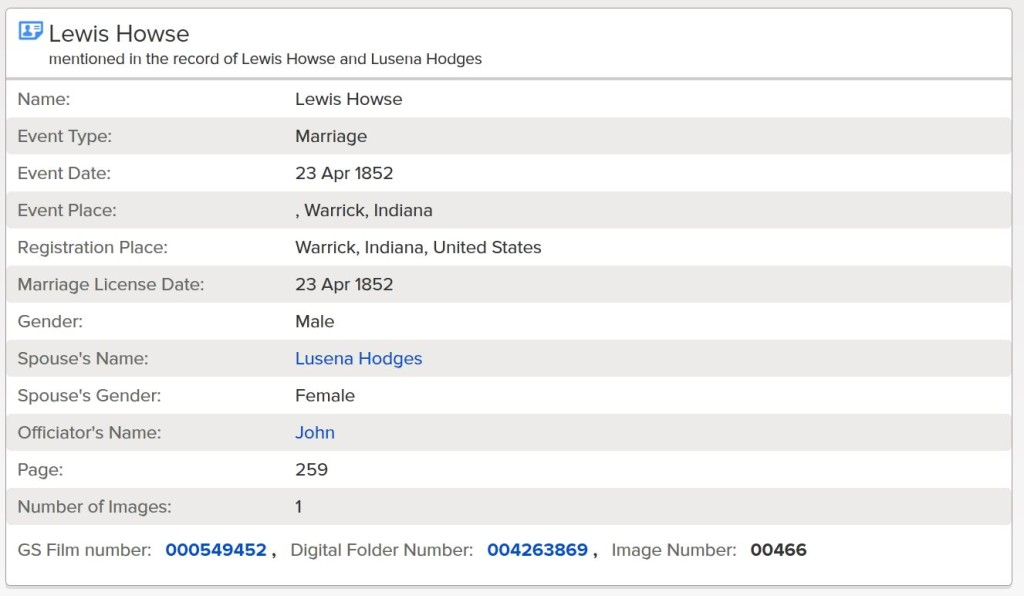 Index of marriage record for Lewis Howse and Lusina Hedges