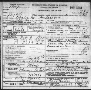 Doris Anderson, 1927 Death Certificate